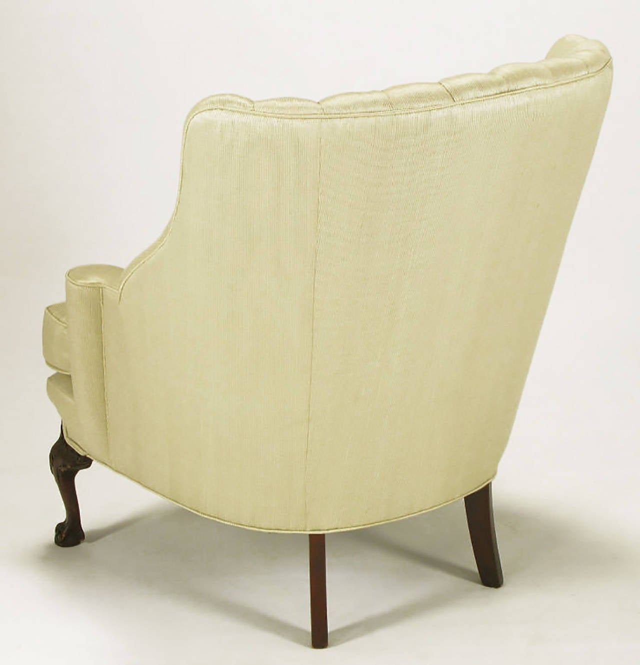 Mid-20th Century 1930s Channel Back Claw Foot Georgian Wingback Chair For Sale