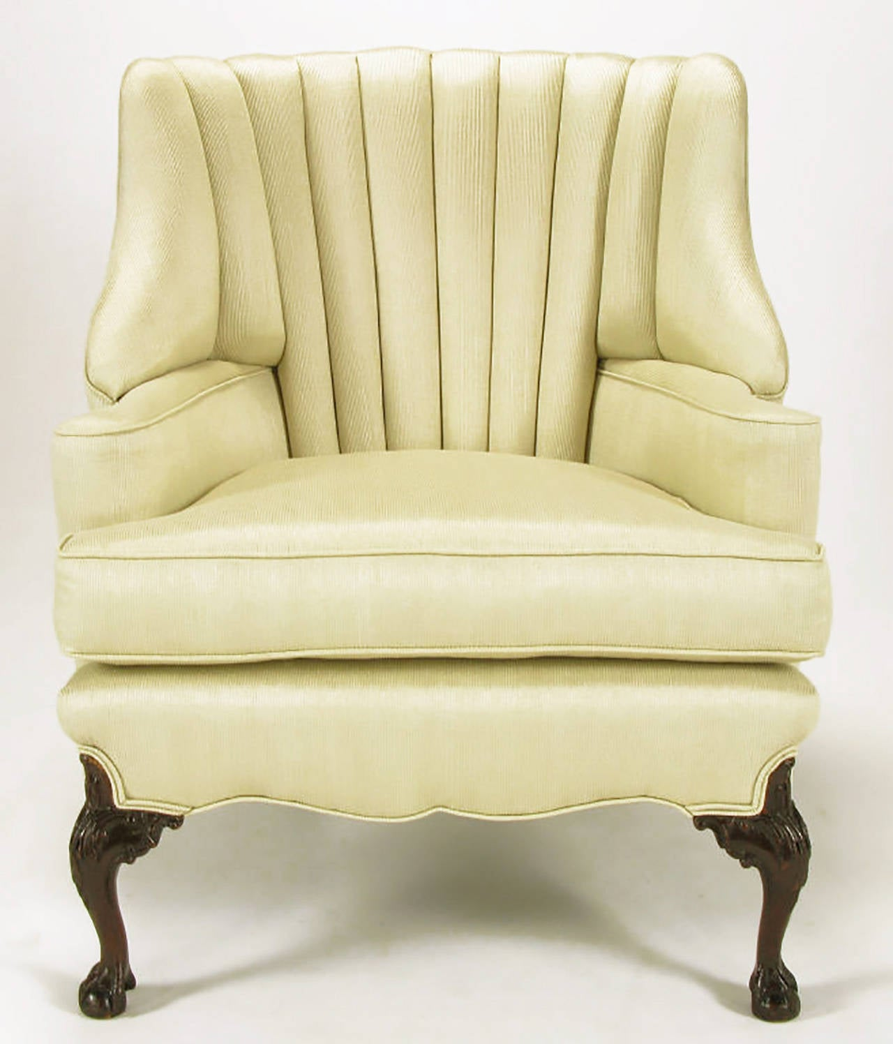 1930s Channel Back Claw Foot Georgian Wingback Chair For Sale 1