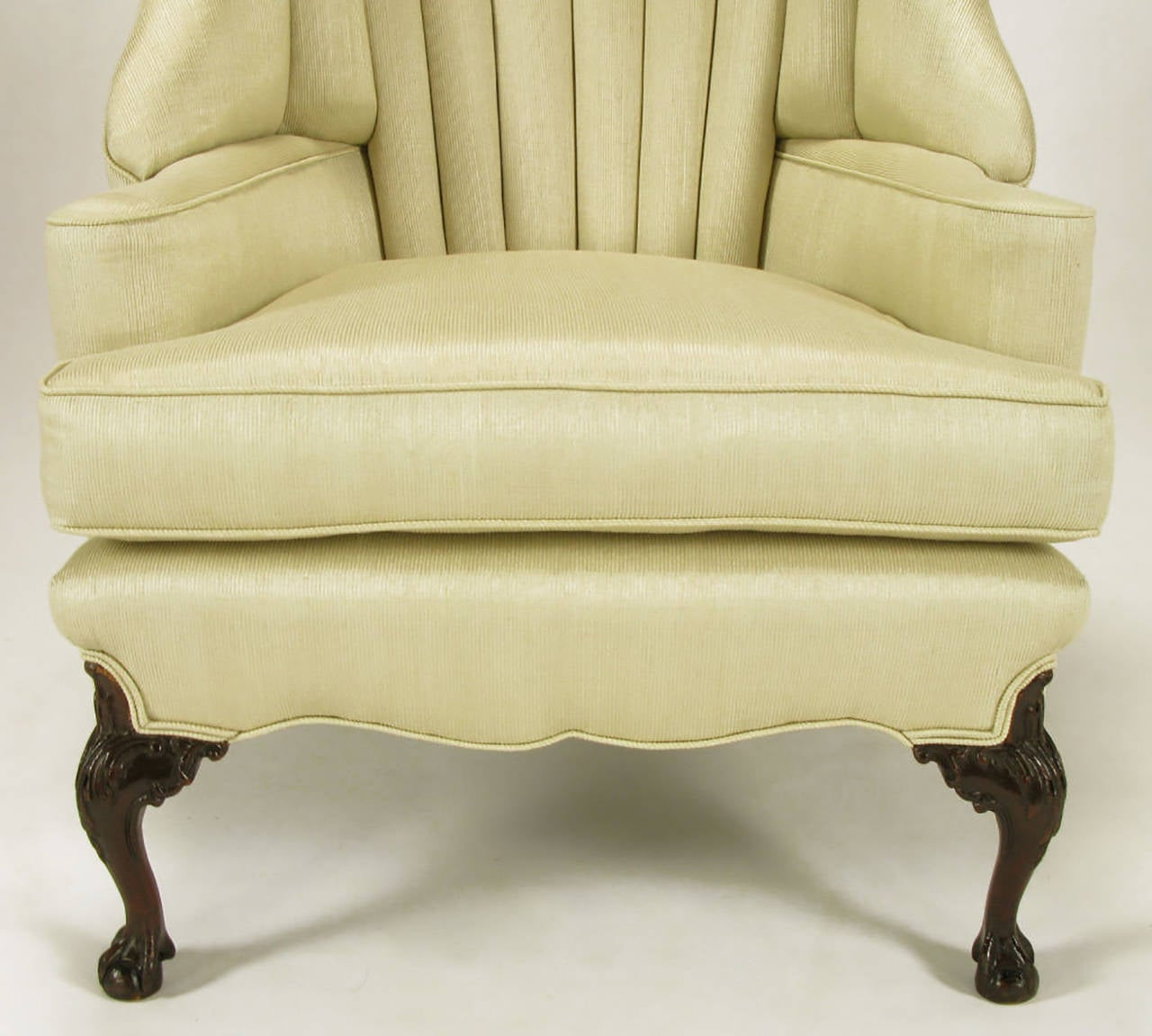 1930s Channel Back Claw Foot Georgian Wingback Chair For Sale 2