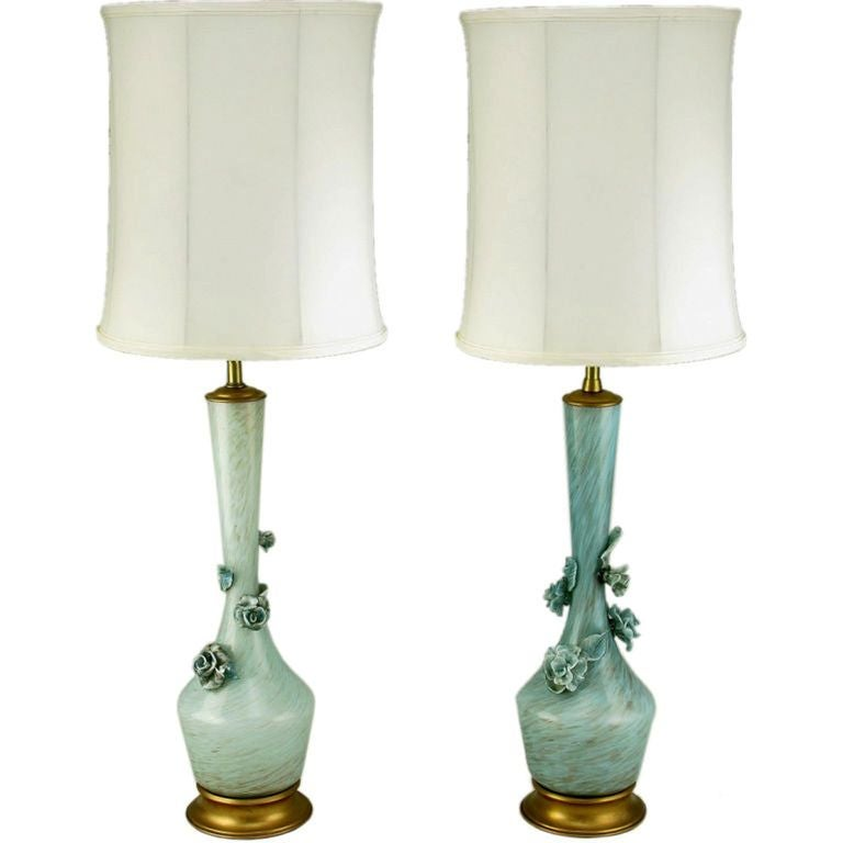 Lovely Pair Marbro Blue Murano Glass Table Lamps With Floral Appliques 1
