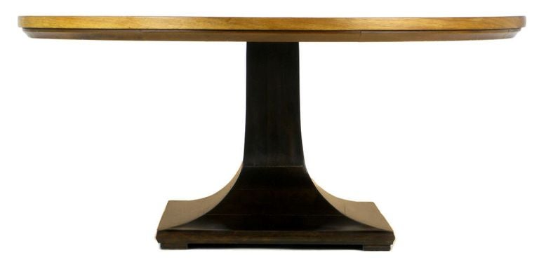Round Teak, Walnut and Rosewood Inlaid Pedestal Coffee Table 4