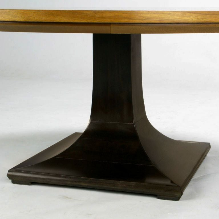 Round Teak, Walnut and Rosewood Inlaid Pedestal Coffee Table 6