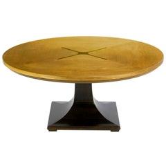 Round Teak, Walnut and Rosewood Inlaid Pedestal Coffee Table