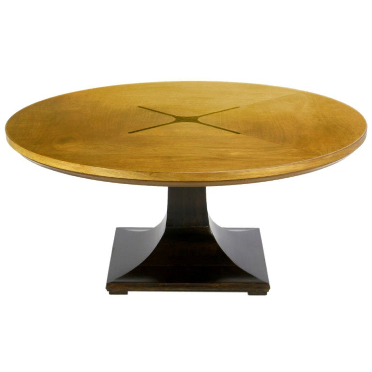 Round Teak, Walnut And Rosewood Inlaid Pedestal Coffee Table For Sale