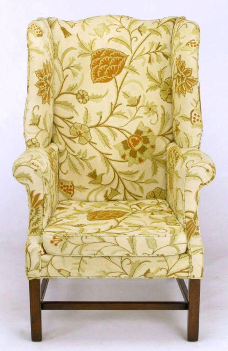 Hickory Chair Crewel Upholstered Sculptural Wing Chair 3