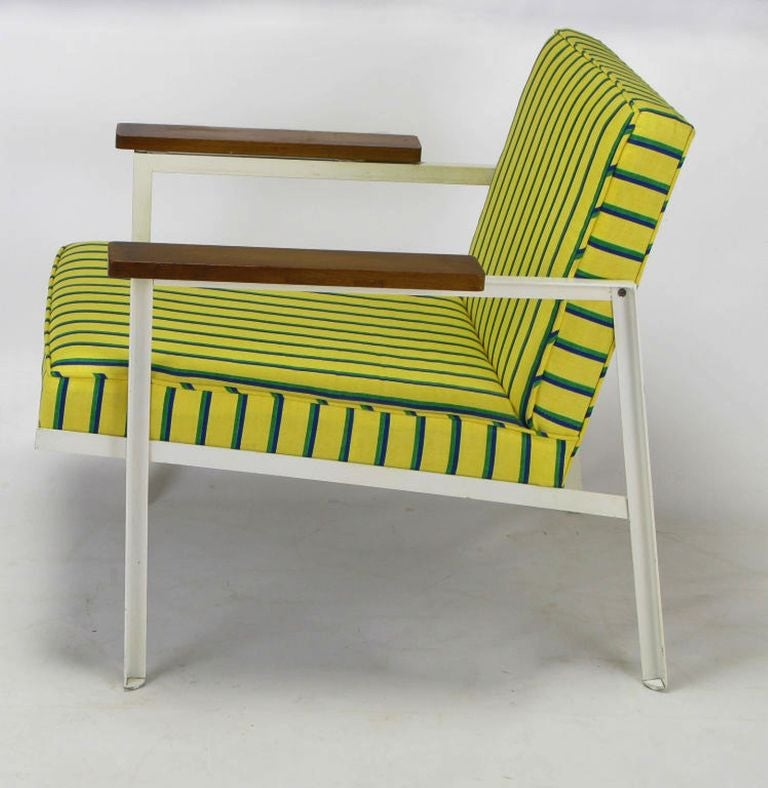 American George Nelson White Lacquer & Walnut Upholstered Arm Chair For Sale
