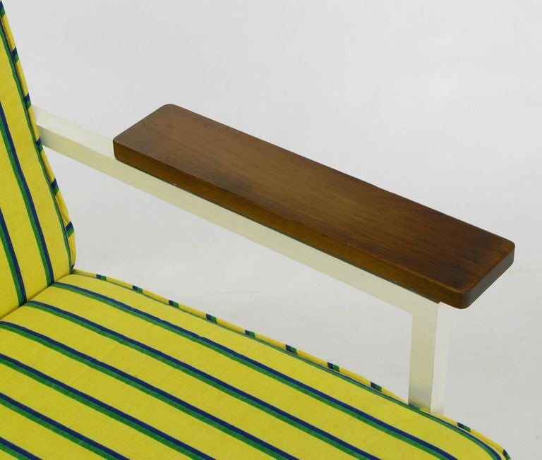 Mid-20th Century George Nelson White Lacquer & Walnut Upholstered Arm Chair For Sale