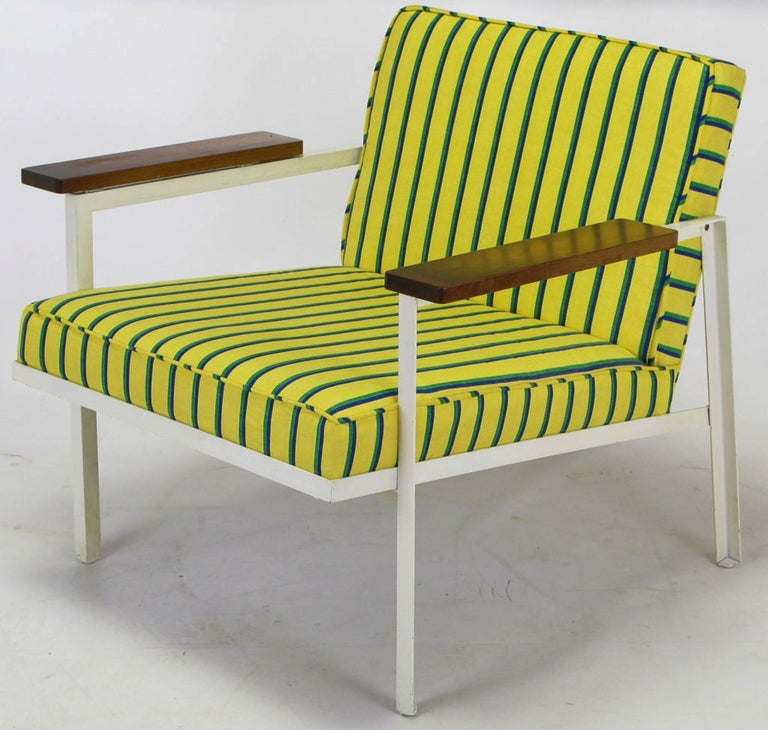 George Nelson White Lacquer and Walnut Upholstered Armchair For Sale