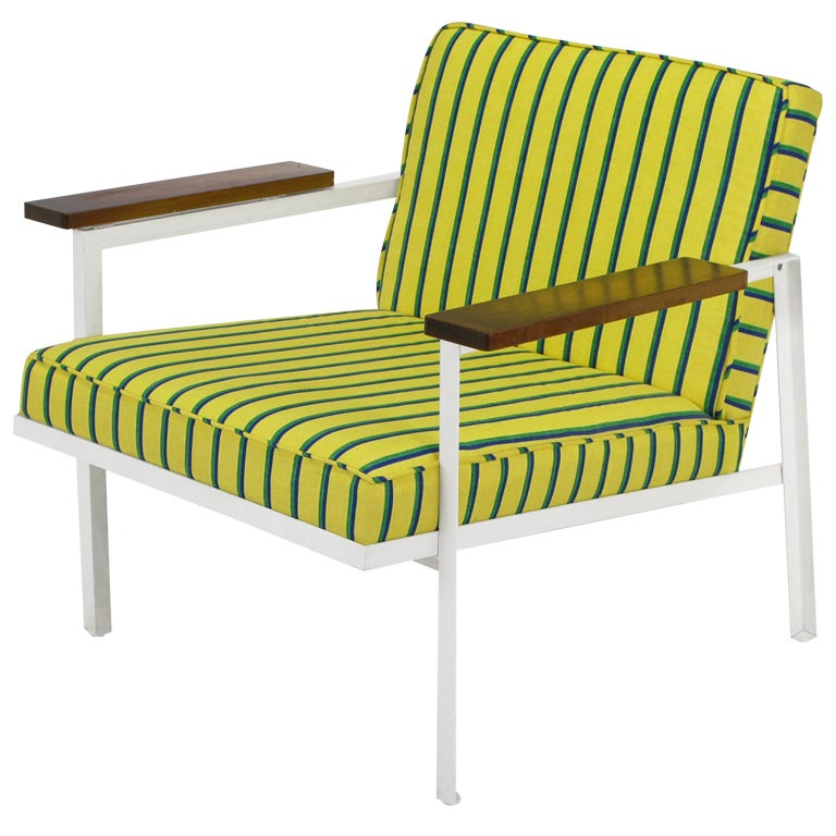 George Nelson White Lacquer & Walnut Upholstered Arm Chair For Sale