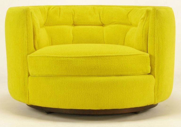 Pair Oval Button Tufted Canary Yellow Lounge Chairs at 1stdibs