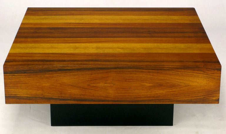 Danish Exotic Wood Parquetry Top Square Coffee Table For Sale at