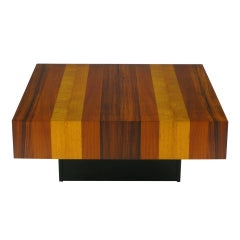 Danish Exotic Wood Parquetry Top Square Coffee Table
