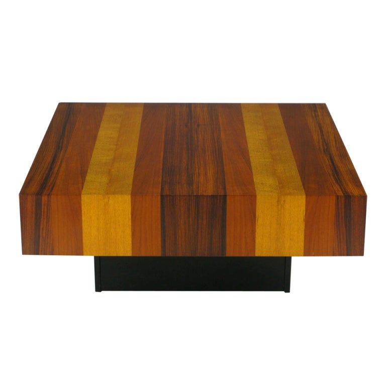 Danish Exotic Wood Parquetry Top Square Coffee Table 1