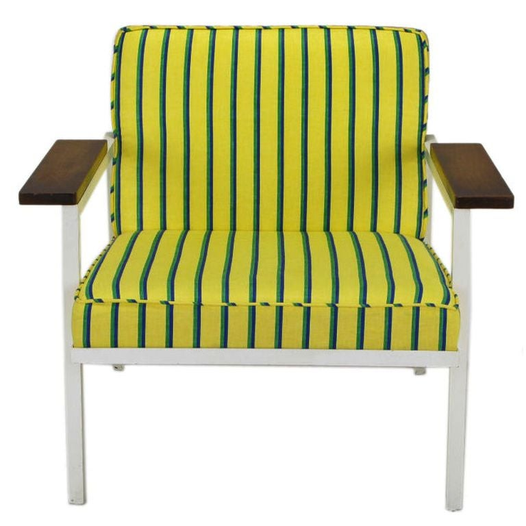 Cotton George Nelson White Lacquer & Walnut Upholstered Arm Chair For Sale