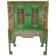 Emerald Green Chinese Cabinet Inset with Gilt Antique Panels