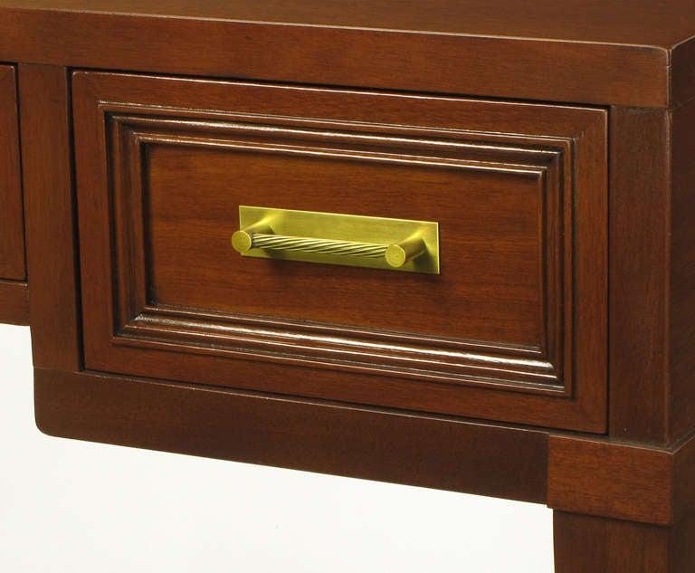 Fine Arts Furniture Co. Elegant Mahogany Three Drawer Writing Table For Sale 1
