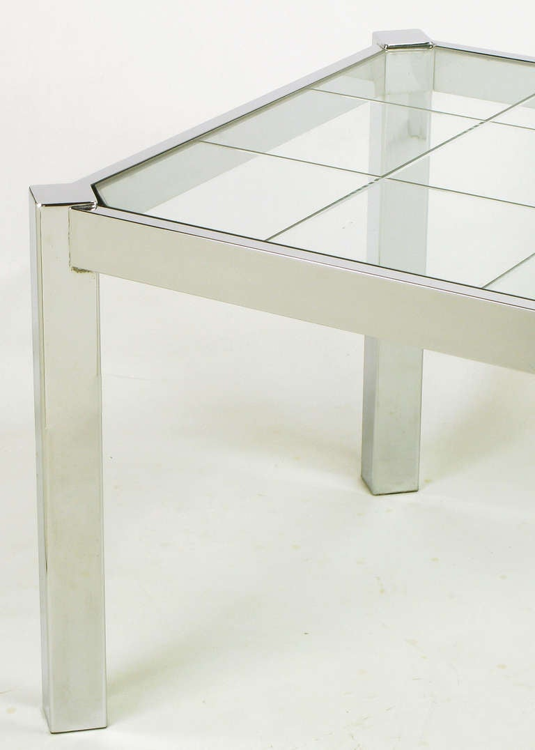 Steel Dia Chrome and Incised Glass Canted Leg Dining Table For Sale