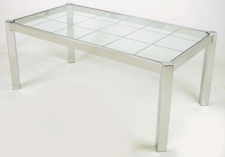 American Dia Chrome and Incised Glass Canted Leg Dining Table For Sale