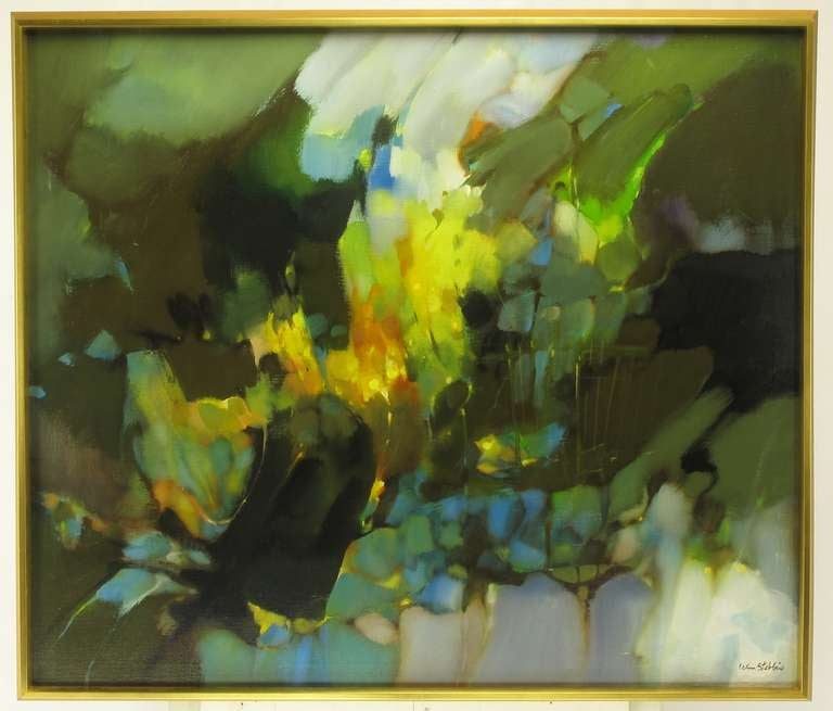 Colorful abstract oil on canvas of intense greens, soft blues, vibrant yellows, signed William Stebbins (1928-2006), lower right. Nicely framed in a gold leaf wood deep frame.  Stebbins was an award wining artist from Chicago Illinois, who was