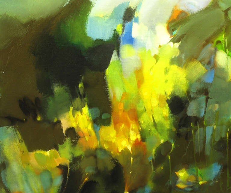 American William Stebbins Colorful Abstract Oil on Canvas For Sale