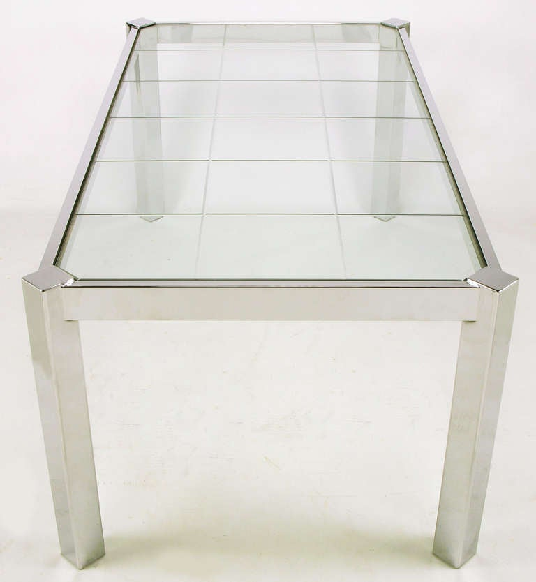 20th Century Dia Chrome and Incised Glass Canted Leg Dining Table For Sale