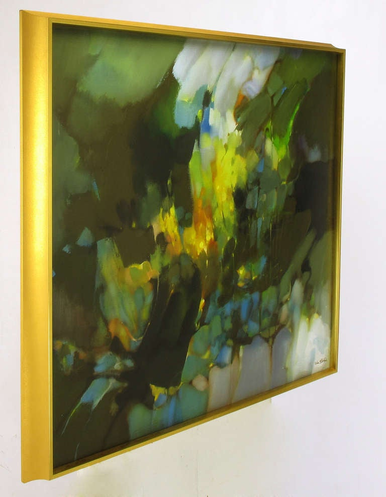20th Century William Stebbins Colorful Abstract Oil on Canvas For Sale