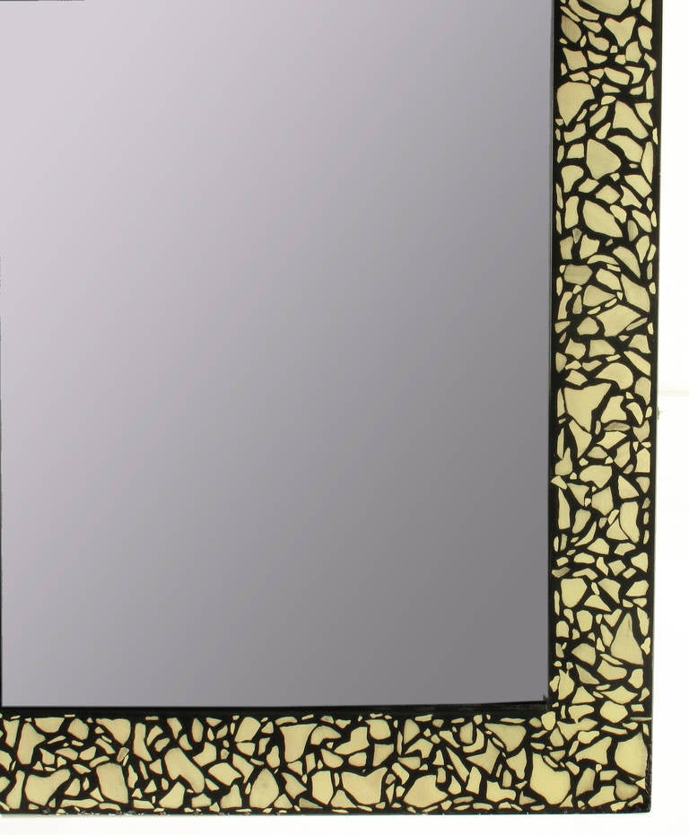 Faux Mother-of-Pearl and Black Lacquer Mirror by Baker In Good Condition For Sale In Chicago, IL