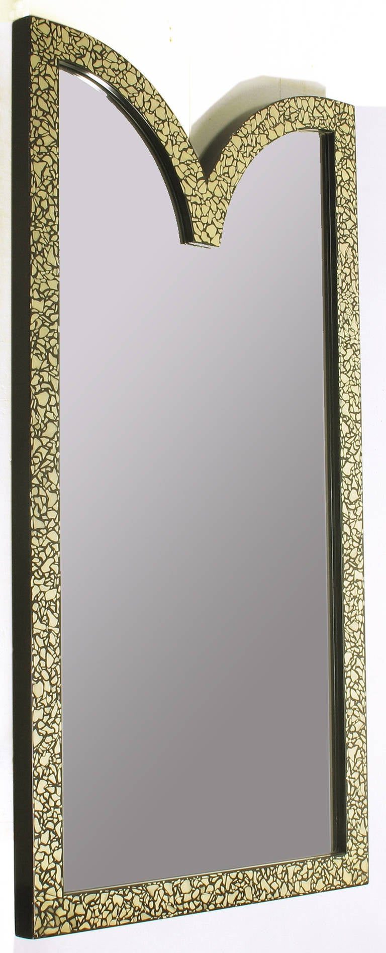 American Faux Mother-of-Pearl and Black Lacquer Mirror by Baker For Sale