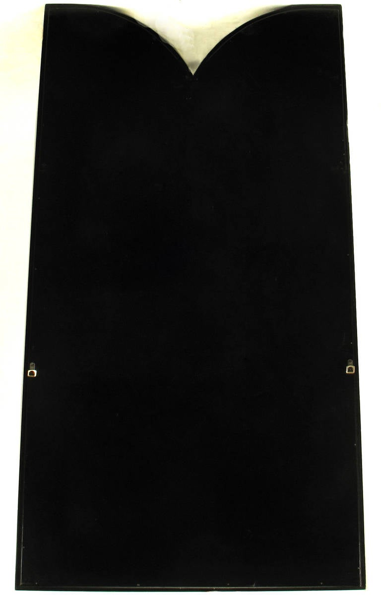 Wood Faux Mother-of-Pearl and Black Lacquer Mirror by Baker For Sale