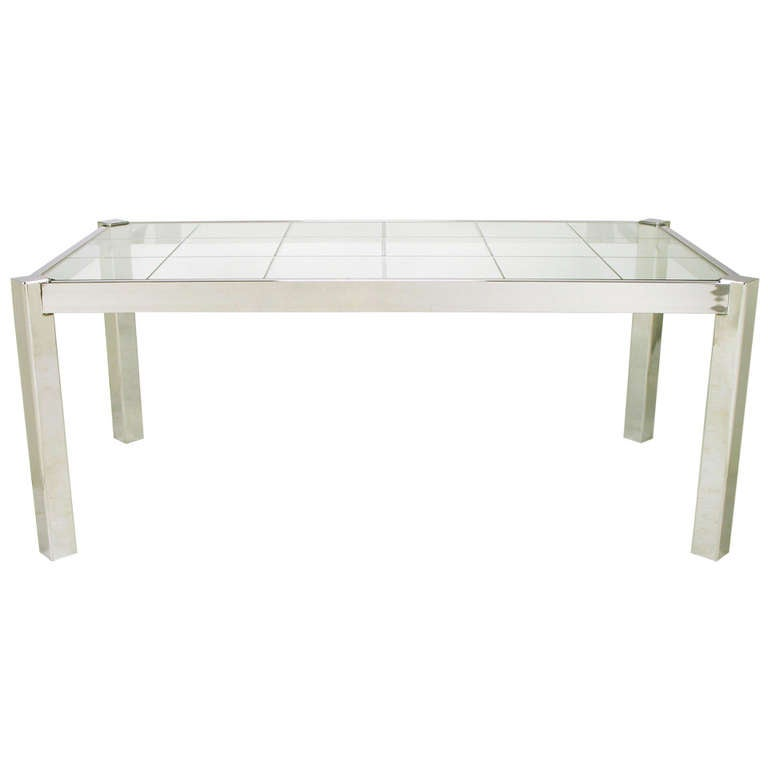 dia chrome and incised glass canted leg dining table at
