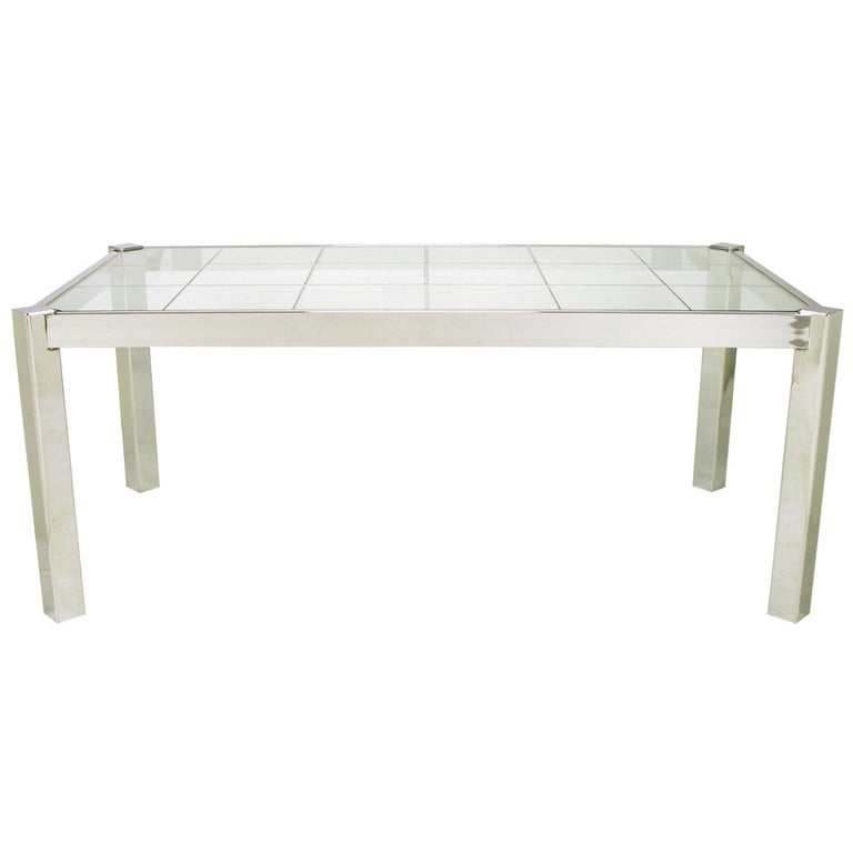 Dia Chrome and Incised Glass Canted Leg Dining Table For Sale