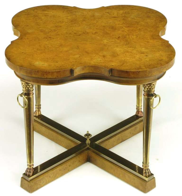 American Mastercraft Empire Style Bronze and Burl Quatrefoil End Table For Sale