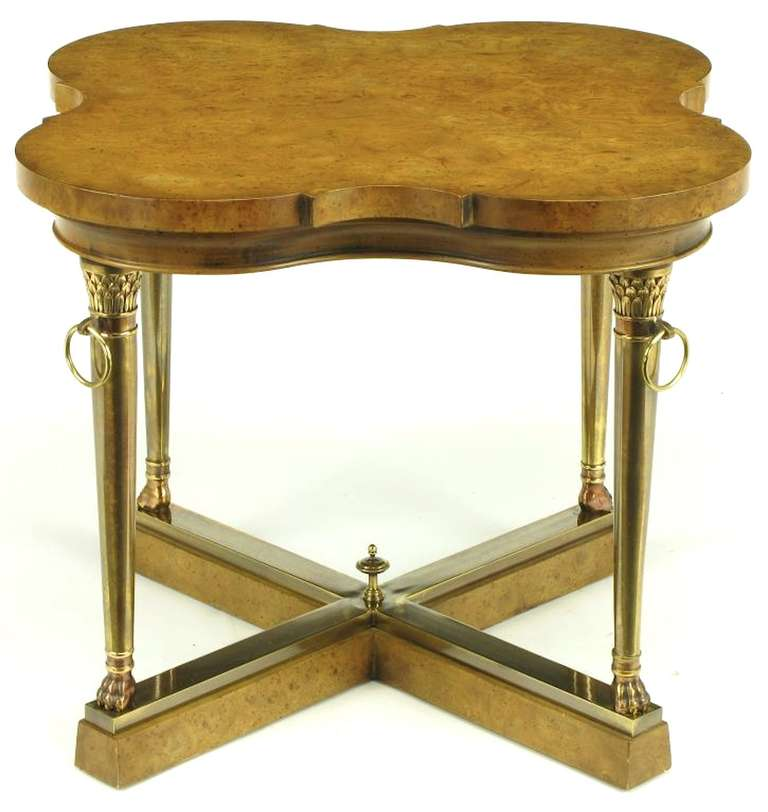 Mastercraft Empire Style Bronze and Burl Quatrefoil End Table In Good Condition For Sale In Chicago, IL