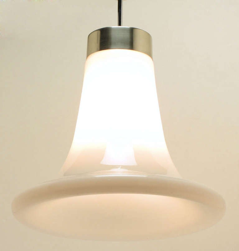1970s Milk Glass Closed Trumpet Pendant Light For Sale At