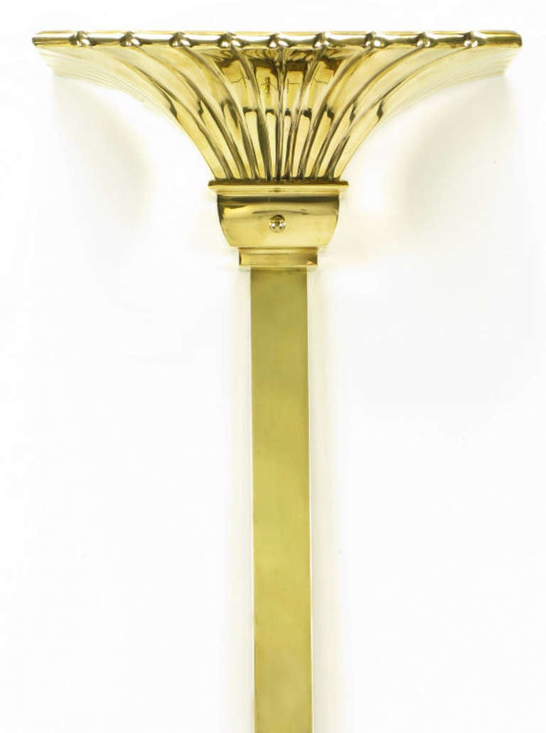 American Chapman Lighting Brass Empire Style Wall-Mounted Torchiere For Sale