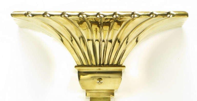 Chapman Lighting Brass Empire Style Wall-Mounted Torchiere In Good Condition For Sale In Chicago, IL