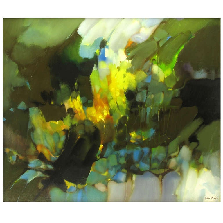 William Stebbins Colorful Abstract Oil on Canvas For Sale
