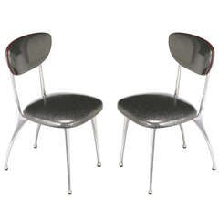 Pair of 1950s Shelby Williams Polished Aluminum Gazelle Side Chairs