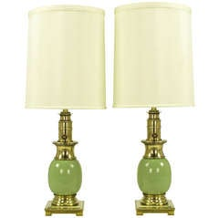 Pair of Stiffel Brass and Sage Porcelain Ostrich Egg Table Lamps