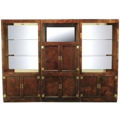 Trio of Hekman Tall Campaign Cabinets in Patchwork Burl