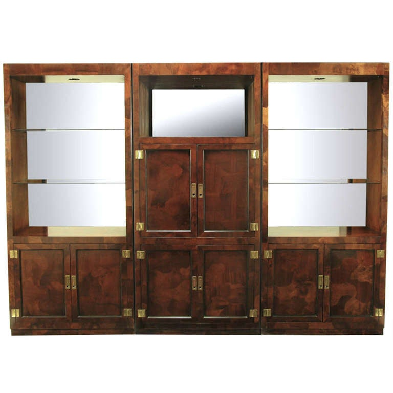 trio of hekman tall campaign cabinets in patchwork burl 1 - Hekman Furniture