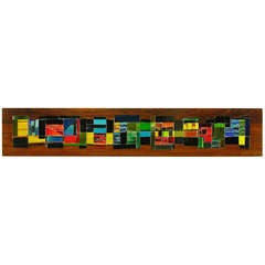 Signed Long Colorful Glass Tile on Mahogany Mosaic
