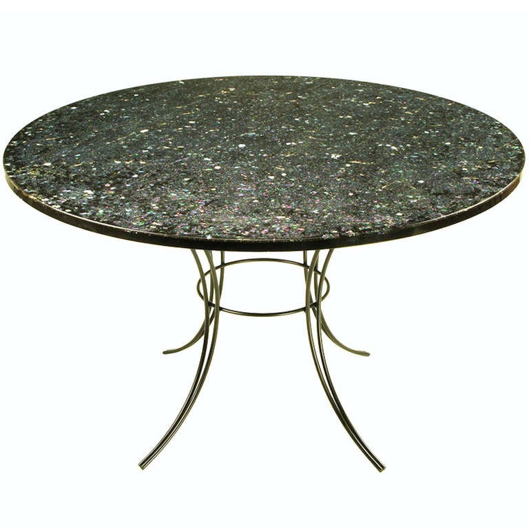 Round Black and Clear Resin Encased Abalone Dining Table at 1stdibs