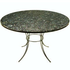 Round Black & Clear Resin Encased Abalone Dining Table