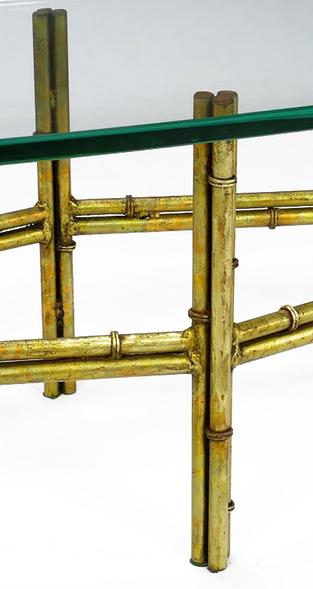 Mid-20th Century Gilt Faux Bamboo Metal Coffee Table with Surf Board Glass Top For Sale