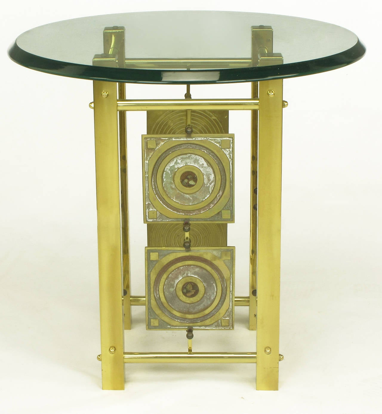 American Postmodern Enameled Brass Panel Studio Side Table For Sale