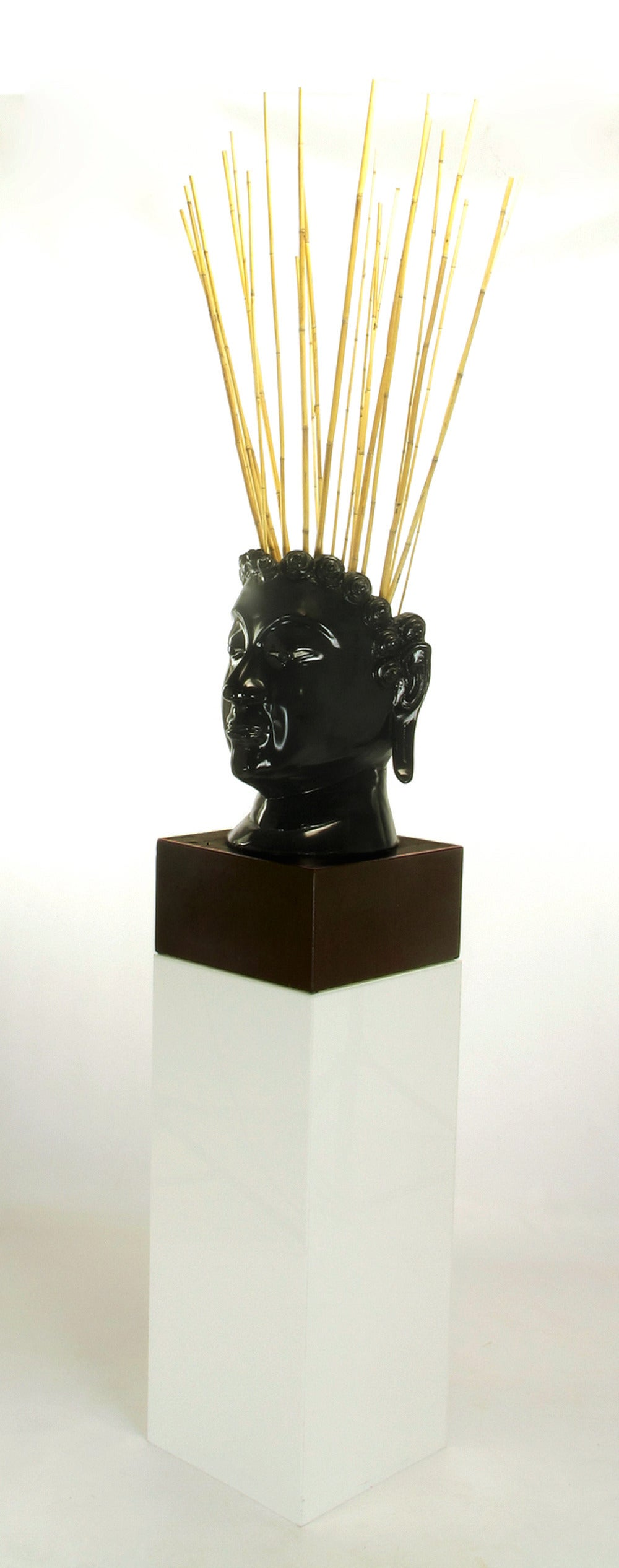 Unknown Buddha-Form Mahogany and Black Lacquer Sculpture on White Lucite Pedestal For Sale