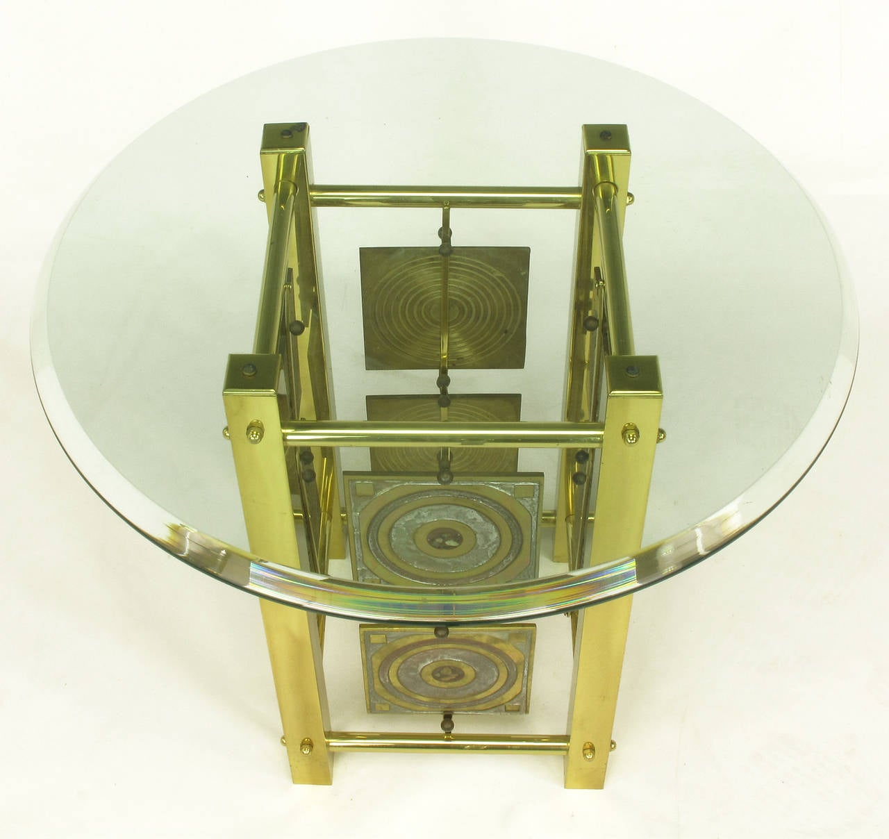Postmodern Enameled Brass Panel Studio Side Table In Excellent Condition For Sale In Chicago, IL