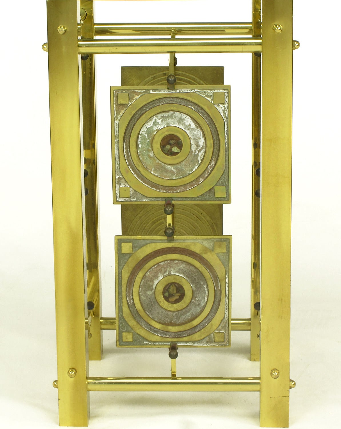 Late 20th Century Postmodern Enameled Brass Panel Studio Side Table For Sale