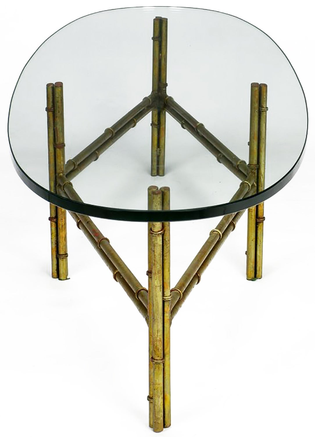 Gilt Faux Bamboo Metal Coffee Table with Surf Board Glass Top In Good Condition For Sale In Chicago, IL